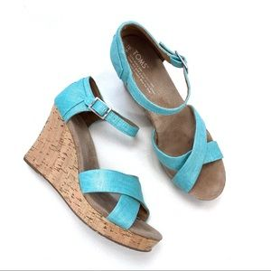 Toms Sienna Aqua Cork Wedge Sandals